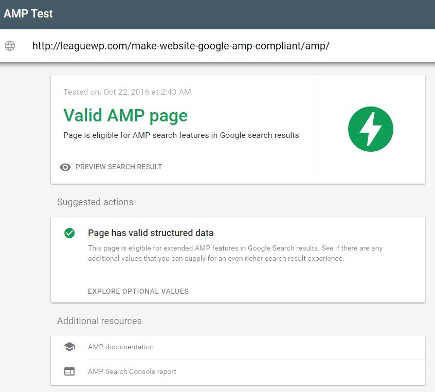 google-search-console-amp-test