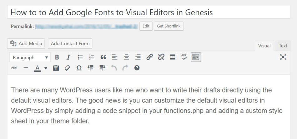 Add Google Fonts to Visual Editors in Genesis
